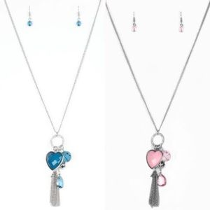2 heart charm necklaces